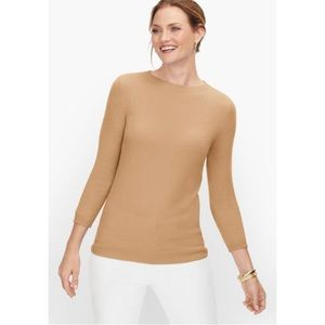 NEW TALBOTS PURE CASHMERE AUDREY SWEATER TAN